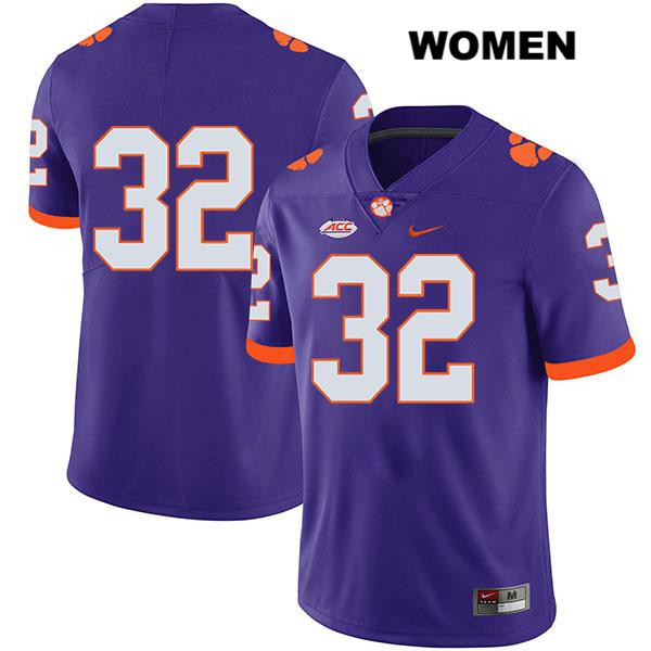 Sylvester Mayers Legend Clemson Tigers no. 32 Stitched Womens Purple Nike Authentic College Football Jersey - No Name - Sylvester Mayers Jersey