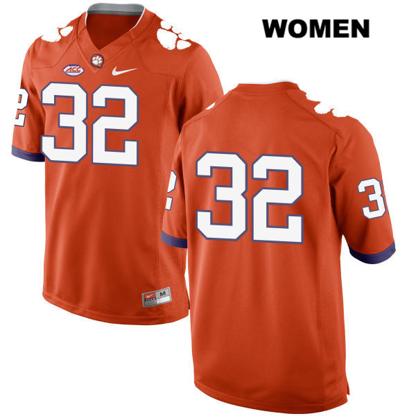 Sylvester Mayers Stitched Clemson Tigers no. 32 Style 2 Womens Orange Nike Authentic College Football Jersey - No Name - Sylvester Mayers Jersey