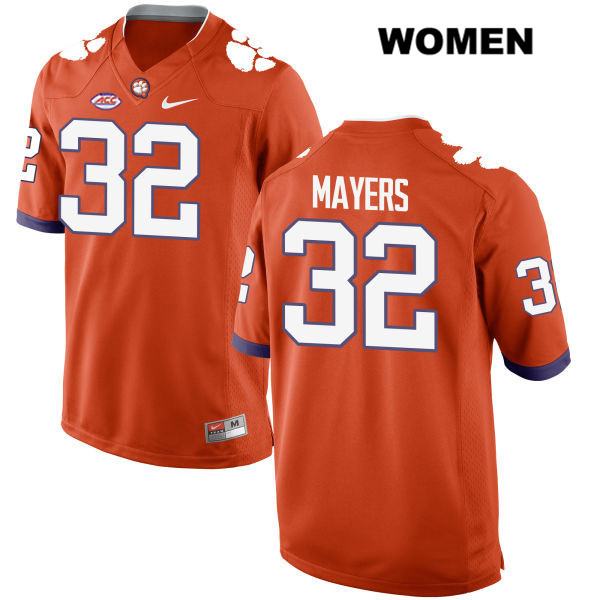 Sylvester Mayers Clemson Tigers Stitched no. 32 Style 2 Womens Nike Orange Authentic College Football Jersey - Sylvester Mayers Jersey