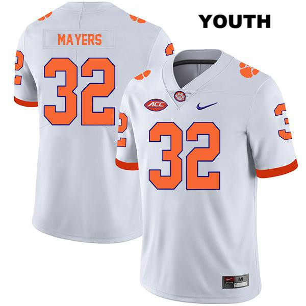 Sylvester Mayers Clemson Tigers Stitched no. 32 Youth Nike White Legend Authentic College Football Jersey - Sylvester Mayers Jersey
