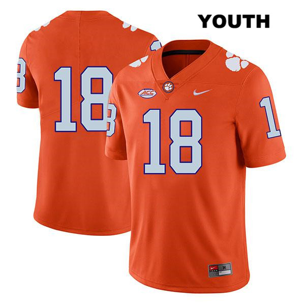 T.J. Chase Stitched Clemson Tigers no. 18 Youth Orange Nike Legend Authentic College Football Jersey - No Name - T.J. Chase Jersey