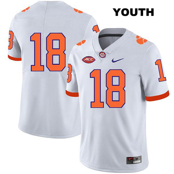 T.J. Chase Clemson Tigers Nike no. 18 Legend Youth White Stitched Authentic College Football Jersey - No Name - T.J. Chase Jersey