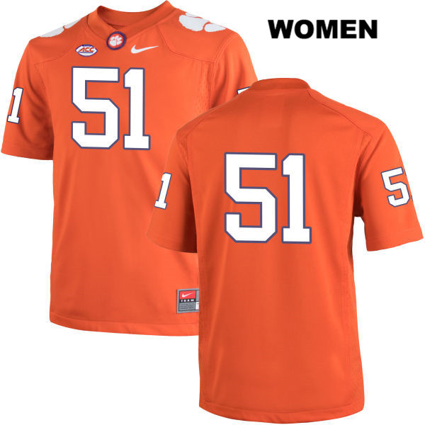 Taylor Hearn Clemson Tigers Stitched no. 51 Nike Womens Orange Authentic College Football Jersey - No Name - Taylor Hearn Jersey