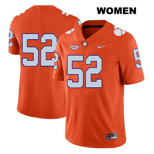 Tayquon Johnson Stitched Legend Clemson Tigers Nike no. 52 Womens Orange Authentic College Football Jersey - No Name - Tayquon Johnson Jersey