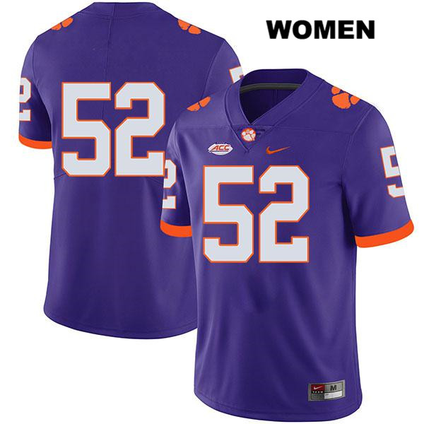 Tayquon Johnson Clemson Tigers Stitched no. 52 Womens Legend Purple Nike Authentic College Football Jersey - No Name - Tayquon Johnson Jersey