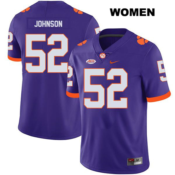 Nike Tayquon Johnson Clemson Tigers no. 52 Legend Womens Purple Stitched Authentic College Football Jersey - Tayquon Johnson Jersey