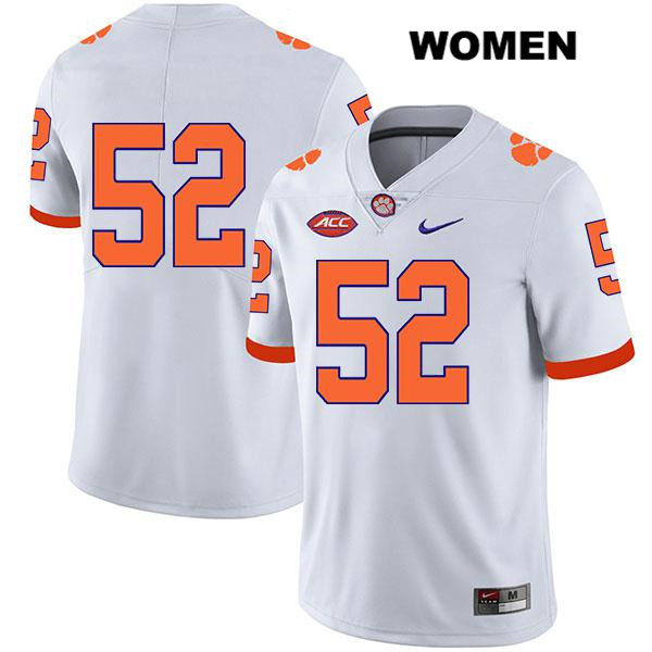 Stitched Tayquon Johnson Clemson Tigers Legend no. 52 Womens Nike White Authentic College Football Jersey - No Name - Tayquon Johnson Jersey