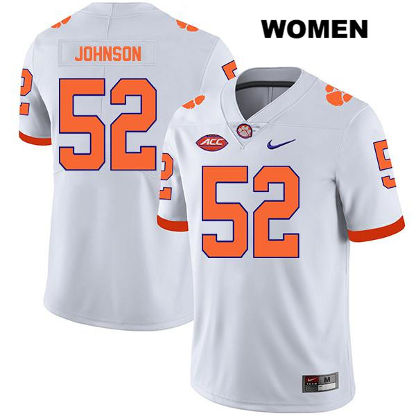 Stitched Tayquon Johnson Clemson Tigers no. 52 Legend Womens Nike White Authentic College Football Jersey - Tayquon Johnson Jersey