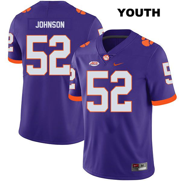 Tayquon Johnson Legend Clemson Tigers Stitched no. 52 Youth Nike Purple Authentic College Football Jersey - Tayquon Johnson Jersey