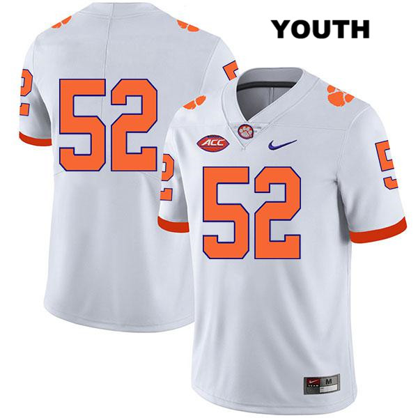 Tayquon Johnson Nike Clemson Tigers no. 52 Youth Stitched Legend White Authentic College Football Jersey - No Name - Tayquon Johnson Jersey