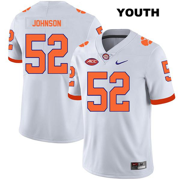 Tayquon Johnson Clemson Tigers no. 52 Nike Youth Stitched White Legend Authentic College Football Jersey - Tayquon Johnson Jersey