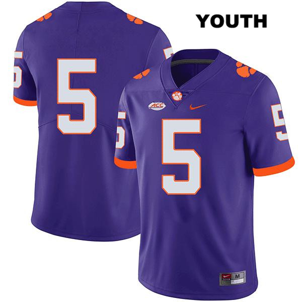 Tee Higgins Legend Clemson Tigers no. 5 Stitched Youth Purple Nike Authentic College Football Jersey - No Name - Tee Higgins Jersey
