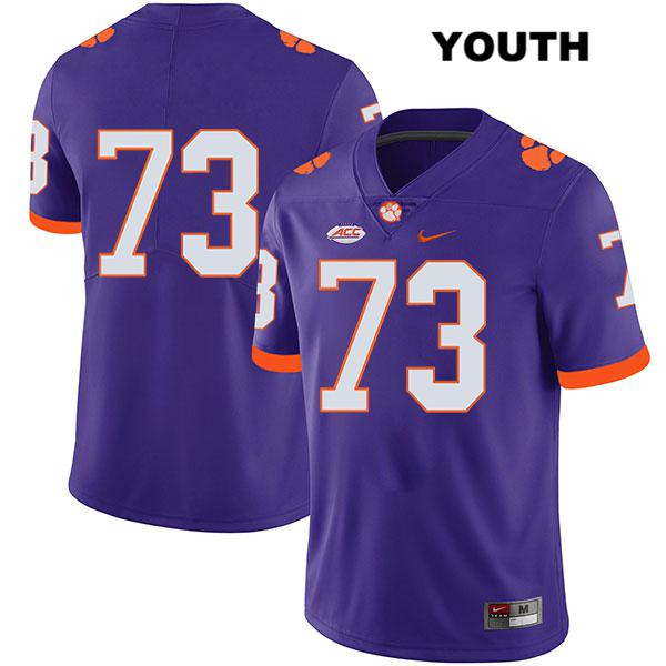 Tremayne Anchrum Legend Clemson Tigers no. 73 Stitched Youth Nike Purple Authentic College Football Jersey - No Name - Tremayne Anchrum Jersey
