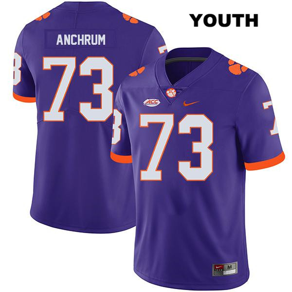 Tremayne Anchrum Legend Clemson Tigers no. 73 Nike Youth Purple Stitched Authentic College Football Jersey - Tremayne Anchrum Jersey