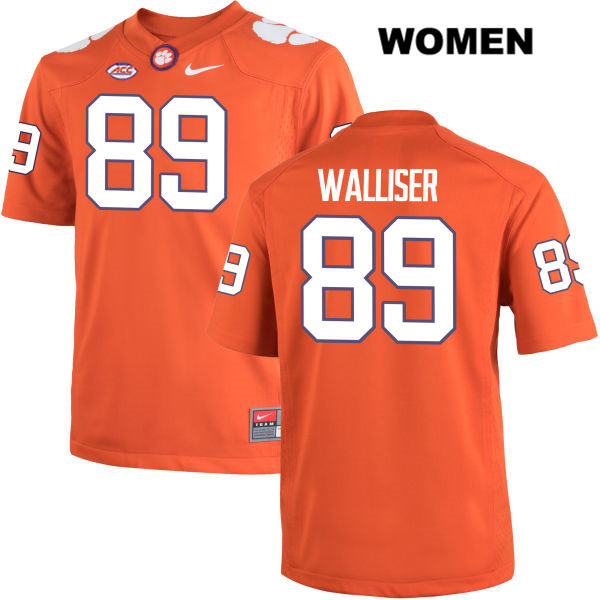 Tristan Walliser Clemson Tigers Stitched no. 89 Womens Orange Nike Authentic College Football Jersey - Tristan Walliser Jersey