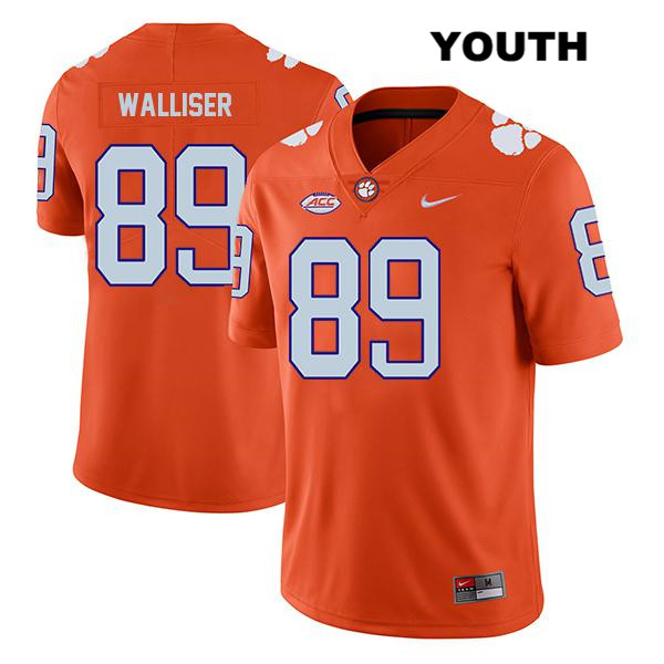 Tristan Walliser Stitched Nike Clemson Tigers Legend no. 89 Youth Orange Authentic College Football Jersey - Tristan Walliser Jersey