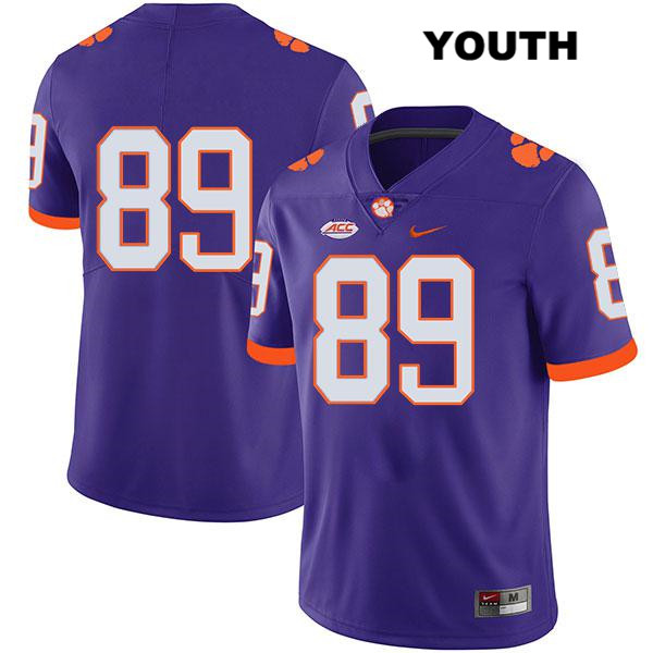 Tristan Walliser Clemson Tigers Stitched no. 89 Youth Legend Purple Nike Authentic College Football Jersey - No Name - Tristan Walliser Jersey