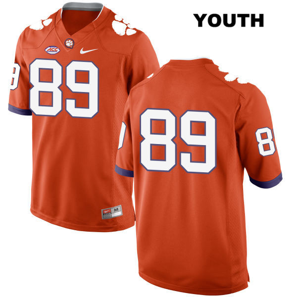 Tristan Walliser Clemson Tigers Nike no. 89 Stitched Youth Orange Style 2 Authentic College Football Jersey - No Name - Tristan Walliser Jersey
