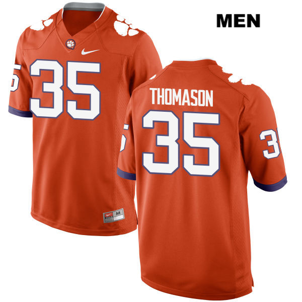 Ty Thomason Stitched Clemson Tigers no. 35 Mens Orange Nike Authentic College Football Jersey - Ty Thomason Jersey