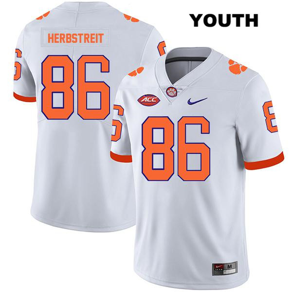 Tye Herbstreit Clemson Tigers Nike Stitched no. 86 Youth Legend White Authentic College Football Jersey - Tye Herbstreit Jersey