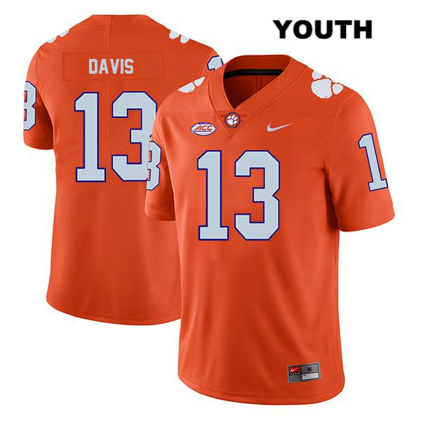 Tyler Davis Legend Clemson Tigers no. 13 Nike Youth Orange Stitched Authentic College Football Jersey