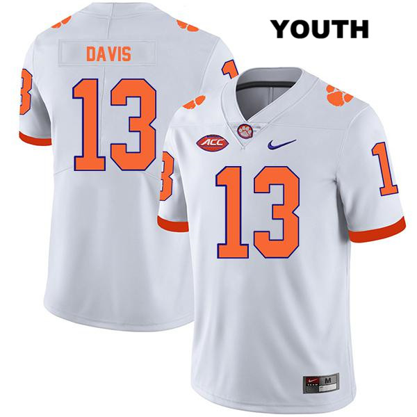 Tyler Davis Stitched Clemson Tigers Nike no. 13 Legend Youth White Authentic College Football Jersey - Tyler Davis Jersey