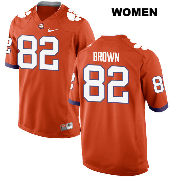 Will Brown Clemson Tigers Nike Stitched no. 82 Womens Orange Authentic College Football Jersey - Will Brown Jersey