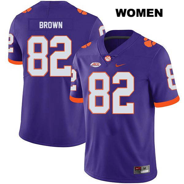 Will Brown Legend Clemson Tigers Nike no. 82 Stitched Womens Purple Authentic College Football Jersey - Will Brown Jersey