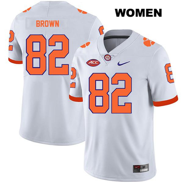 Stitched Will Brown Clemson Tigers Legend no. 82 Womens White Nike Authentic College Football Jersey - Will Brown Jersey