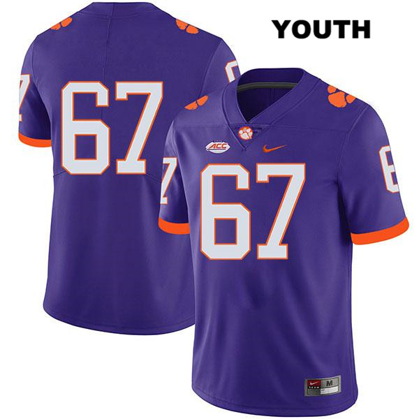 Will Edwards Stitched Clemson Tigers Legend no. 67 Youth Nike Purple Authentic College Football Jersey - No Name