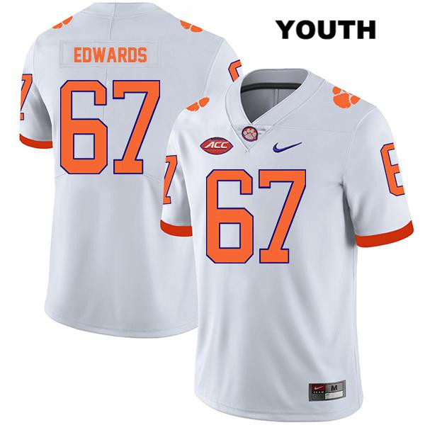 Will Edwards Clemson Tigers Legend Stitched no. 67 Youth Nike White Authentic College Football Jersey