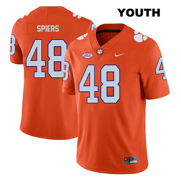 Stitched Will Spiers Nike Legend Clemson Tigers no. 48 Youth Orange Authentic College Football Jersey - Will Spiers Jersey