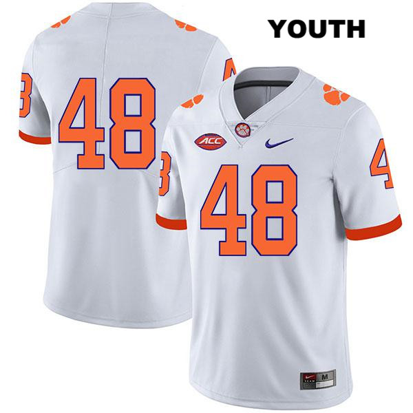 Will Spiers Clemson Tigers Nike no. 48 Youth White Stitched Legend Authentic College Football Jersey - No Name - Will Spiers Jersey