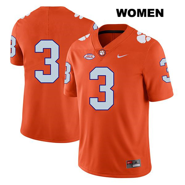 Legend Xavier Thomas Clemson Tigers Nike no. 3 Stitched Womens Orange Authentic College Football Jersey - No Name - Xavier Thomas Jersey