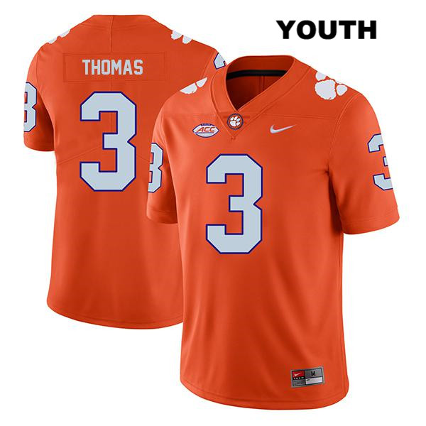 Xavier Thomas Clemson Tigers no. 3 Nike Youth Orange Stitched Legend Authentic College Football Jersey - Xavier Thomas Jersey