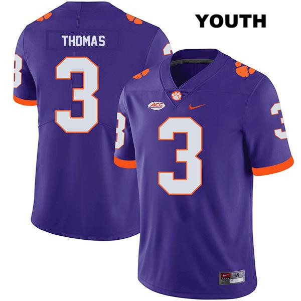 Legend Xavier Thomas Clemson Tigers Stitched no. 3 Youth Purple Nike Authentic College Football Jersey - Xavier Thomas Jersey