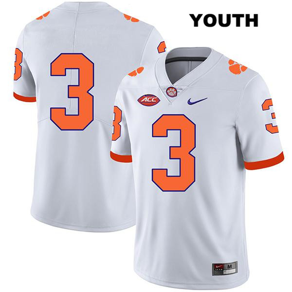 Xavier Thomas Stitched Clemson Tigers Nike no. 3 Youth Legend White Authentic College Football Jersey - No Name - Xavier Thomas Jersey