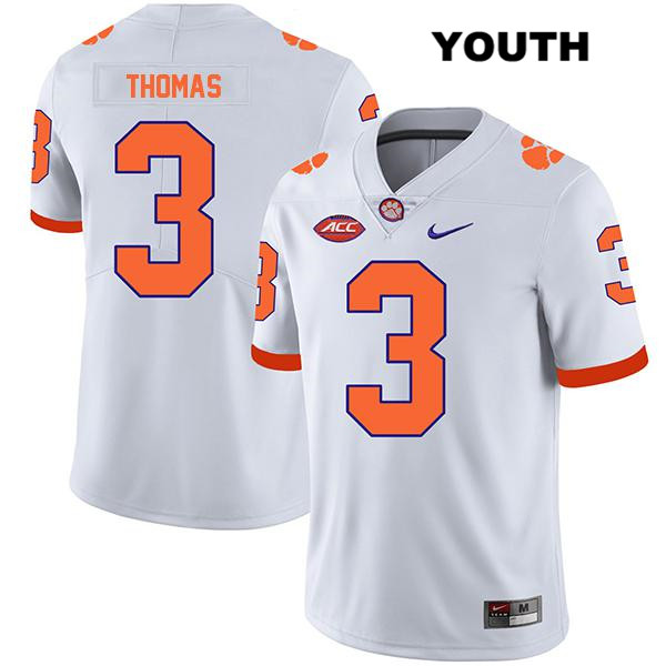 Legend Xavier Thomas Stitched Clemson Tigers no. 3 Youth White Nike Authentic College Football Jersey - Xavier Thomas Jersey