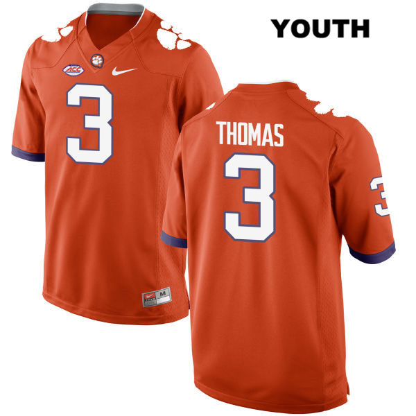 Nike Xavier Thomas Stitched Clemson Tigers no. 3 Style 2 Youth Orange Authentic College Football Jersey - Xavier Thomas Jersey