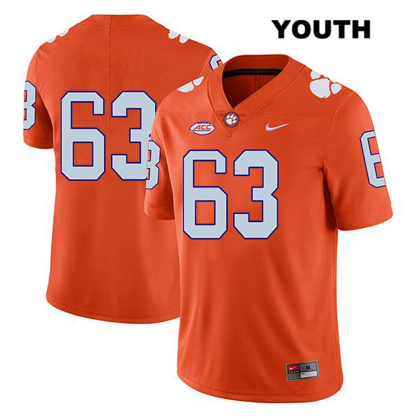Zac McIntosh Legend Clemson Tigers no. 63 Stitched Youth Nike Orange Authentic College Football Jersey - No Name - Zac McIntosh Jersey
