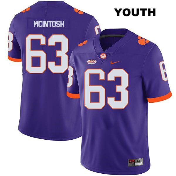 Zac McIntosh Clemson Tigers no. 63 Legend Youth Nike Purple Stitched Authentic College Football Jersey - Zac McIntosh Jersey