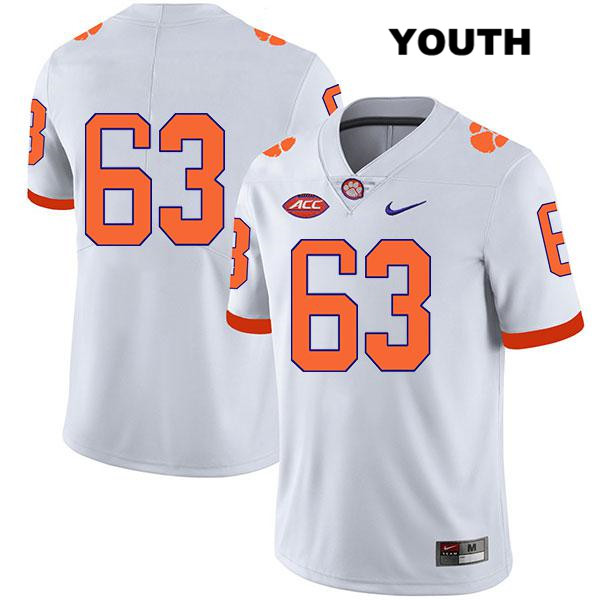 Nike Zac McIntosh Clemson Tigers no. 63 Legend Stitched Youth White Authentic College Football Jersey - No Name - Zac McIntosh Jersey