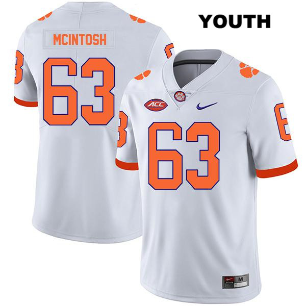 Zac McIntosh Clemson Tigers no. 63 Stitched Legend Youth White Nike Authentic College Football Jersey - Zac McIntosh Jersey