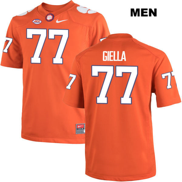 Zach Giella Clemson Tigers no. 77 Mens Nike Orange Stitched Authentic College Football Jersey - Zach Giella Jersey
