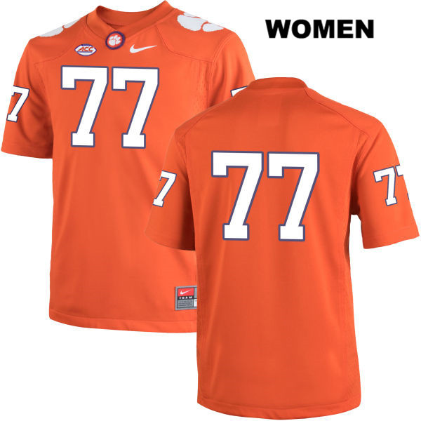 Stitched Zach Giella Clemson Tigers no. 77 Womens Nike Orange Authentic College Football Jersey - No Name - Zach Giella Jersey